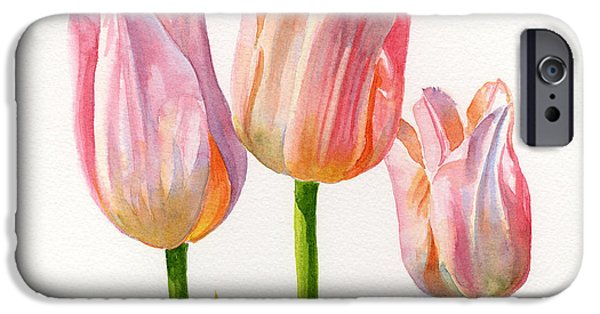 Three Peach Colored Tulips Square Design IPhone 6s Case