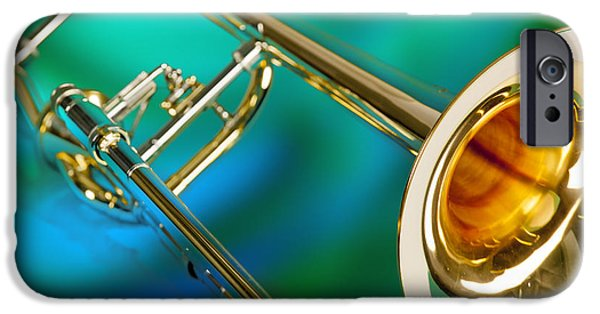 Trombone iPhone 6s Case - Trombone Against Green And Blue In Color 3204.02 by M K  Miller