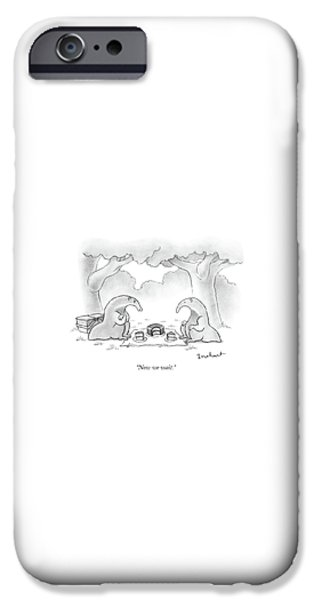 Ant iPhone 6s Case - Two Anteaters On A Picnic Wait For Ants To Come by David Borchart