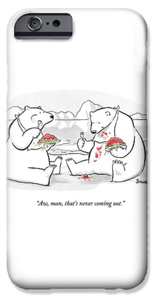 Bear iPhone 6s Case - Two Polar Bears Eat Spaghetti And Meatballs.  One by Benjamin Schwartz