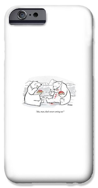 Polar Bear iPhone 6s Case - Two Polar Bears Eat Spaghetti And Meatballs.  One by Benjamin Schwartz