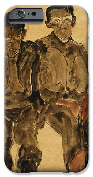 Two Seated Boys IPhone Case by Egon Schiele
