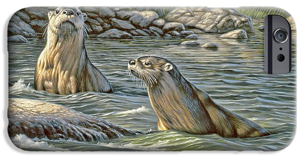 Otter iPhone 6s Case - Up For Air - River Otters by Paul Krapf