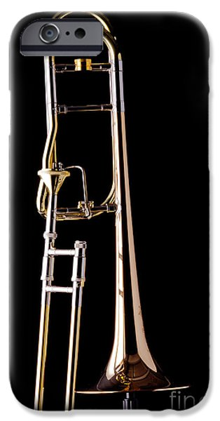 Trombone iPhone 6s Case - Upright Rotor Tenor Trombone On Black In Color 3465.02 by M K  Miller