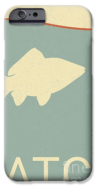 Aquarium iPhone 6s Case - Vector Fish And Fish Hook - Retro by Norph