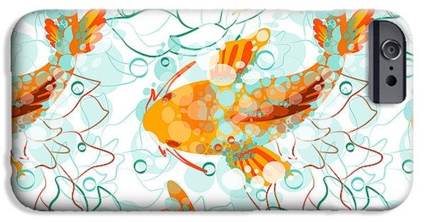 Aquarium iPhone 6s Case - Vector Seamless Pattern With Koi Fish by Derenskaya