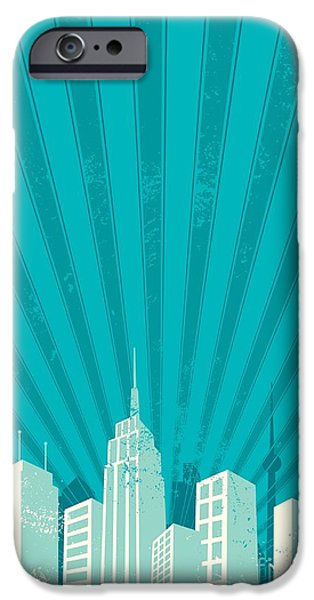 Office Buildings iPhone 6s Case - Vintage City Background. A4 Proportions by Malchev