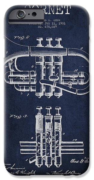 Cornet Patent Drawing From 1901 - Blue IPhone 6s Case by Aged Pixel