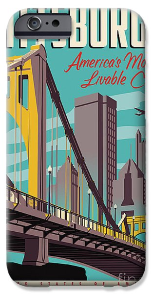 Vintage Style Pittsburgh Travel Poster IPhone 6s Case by Jim Zahniser