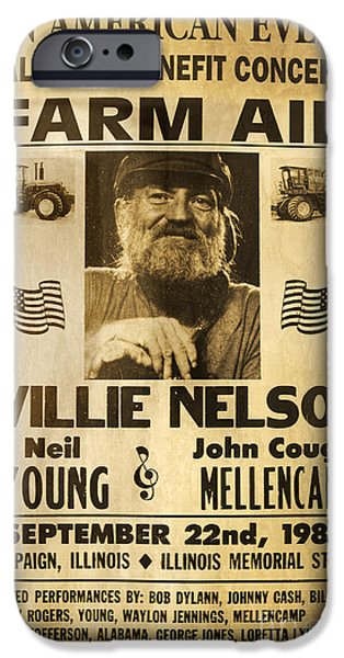 Vintage Willie Nelson 1985 Farm Aid Poster IPhone 6s Case by John Stephens