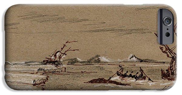Pencil iPhone 6s Case - Whaler Ship by Juan  Bosco