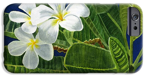 White Plumeria Flowers With Blue Background IPhone 6s Case