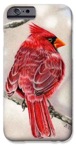Color Pencil iPhone 6s Case - Winter Cardinal by Sarah Batalka