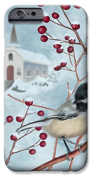 Chickadee iPhone 6s Case - Winter Scene I by April Moen