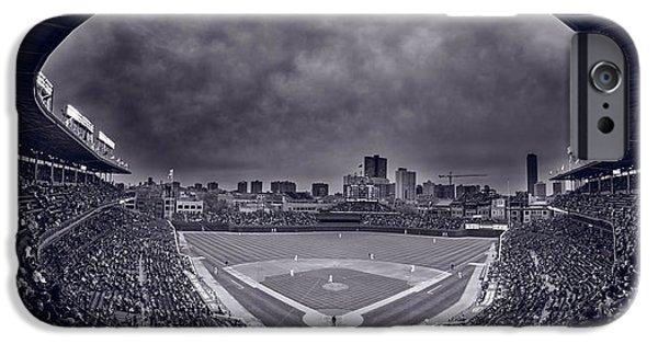 Wrigley Field iPhone 6s Case - Wrigley Field Night Game Chicago Bw by Steve Gadomski