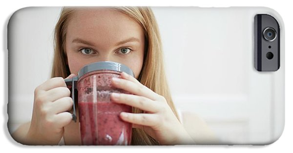 Smoothie iPhone 6s Case - Young Woman Drinking Homemade Smoothie by Science Photo Library
