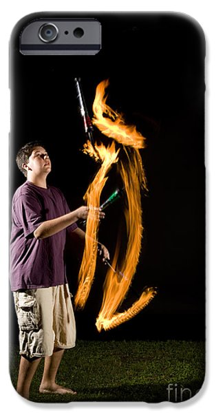 Juggling Fire IPhone Case by Ted Kinsman