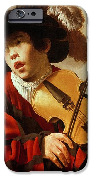Violin iPhone 6s Case -  Boy Playing Stringed Instrument And Singing by Hendrick Ter Brugghen