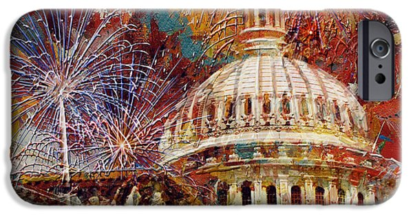 Capitol Building iPhone 6s Case - 070 United States Capitol Building - Us Independence Day Celebration Fireworks by Maryam Mughal