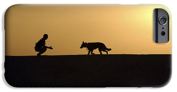 A Military Working Dog And His Handler IPhone Case by Stocktrek Images