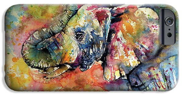 Mammals iPhone 6s Case - Big Colorful Elephant by Kovacs Anna Brigitta