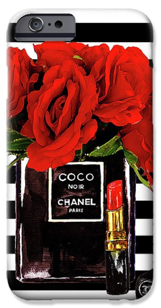 Perfume iPhone 6s Case - Chanel Perfume With Red Roses by Del Art