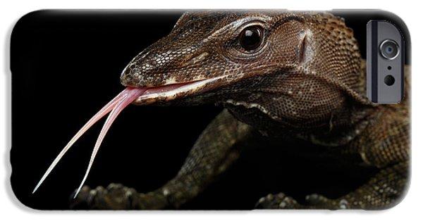 Close-up Varanus Rudicollis Isolated On Black Background IPhone 6s Case by Sergey Taran