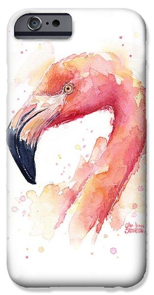 Flamingo iPhone 6s Case - Flamingo Watercolor  by Olga Shvartsur