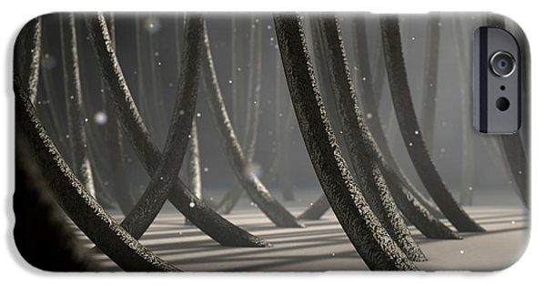 Microscopic Hair Fibers IPhone Case by Allan Swart