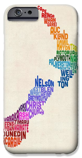 New Zealand Typography Text Map IPhone 6s Case by Michael Tompsett