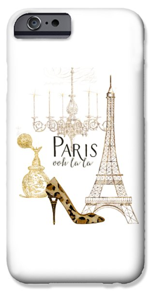 Paris - Ooh La La Fashion Eiffel Tower Chandelier Perfume Bottle IPhone 6s Case by Audrey Jeanne Roberts