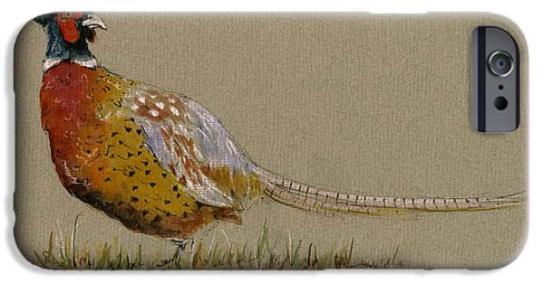 Pheasant iPhone 6s Case - Pheasant Bird Art by Juan  Bosco