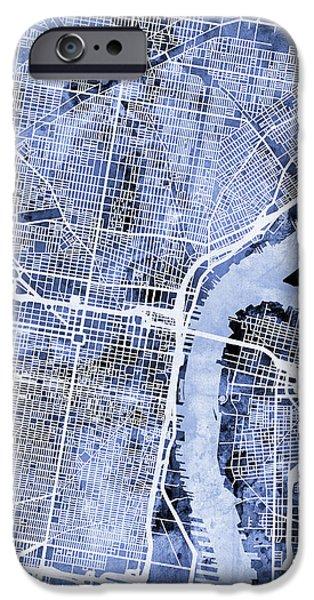 Philadelphia Pennsylvania City Street Map IPhone 6s Case by Michael Tompsett