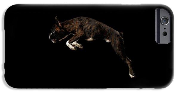Dog iPhone 6s Case - Purebred Boxer Dog Isolated On Black Background by Sergey Taran