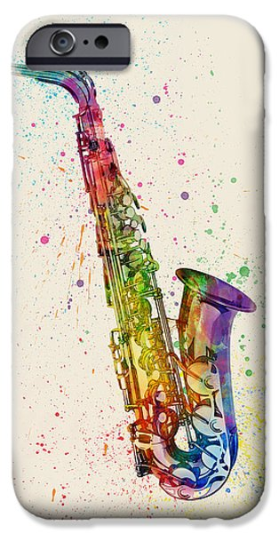 Saxophone iPhone 6s Case - Saxophone Abstract Watercolor by Michael Tompsett