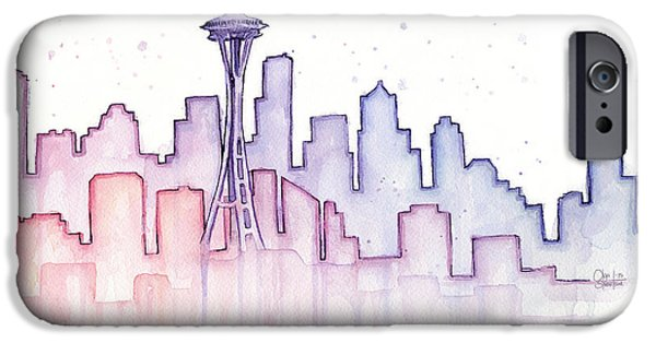 Seattle Skyline Watercolor IPhone 6s Case