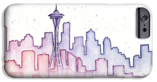 Seattle Skyline iPhone 6s Case - Seattle Skyline Watercolor by Olga Shvartsur
