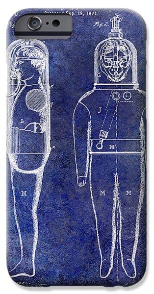 Scuba Diver iPhone 6s Case - 1871 Divers Suit Patent Blue by Jon Neidert
