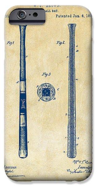 1885 Baseball Bat Patent Artwork - Vintage IPhone Case by Nikki Marie Smith