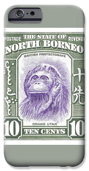 Orangutan iPhone 6s Case - 1939 North Borneo Orangutan Stamp by Retro Graphics