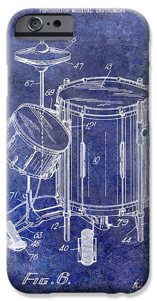 Drum iPhone 6s Case - 1951 Drum Kit Patent Blue by Jon Neidert