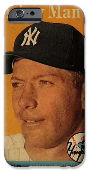 1958 Topps Baseball Mickey Mantle Card Vintage Poster IPhone 6s Case by Design Turnpike