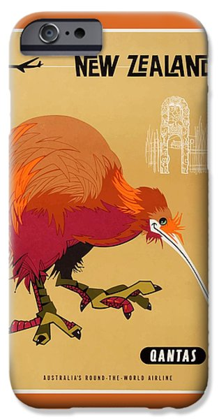 Kiwi iPhone 6s Case - 1960 Qantas New Zealand Kiwi Travel Poster by Retro Graphics