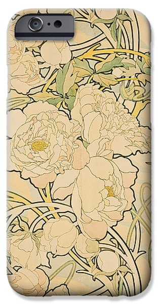 Flowers iPhone 6s Case - Peonies by Alphonse Mucha