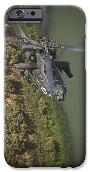 An Ah-64d Apache Helicopter In Flight IPhone Case by Terry Moore