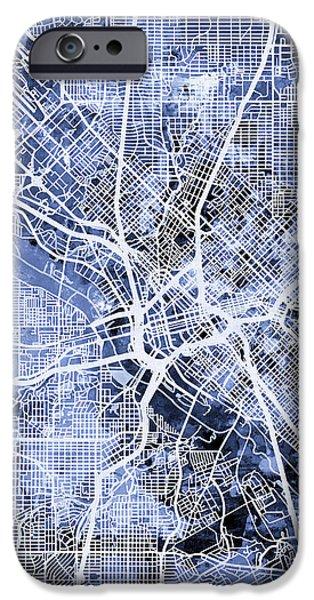 Dallas iPhone 6s Case - Dallas Texas City Map by Michael Tompsett