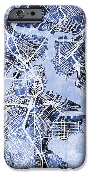 Boston Massachusetts Street Map IPhone 6s Case by Michael Tompsett