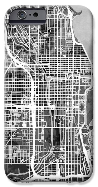 Chicago iPhone 6s Case - Chicago City Street Map by Michael Tompsett