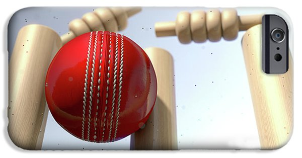 Cricket iPhone 6s Case - Cricket Ball Hitting Wickets by Allan Swart
