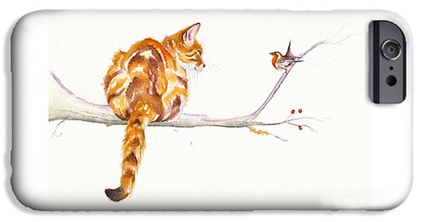 Cat iPhone 6s Case - A Winter Meeting by Debra Hall